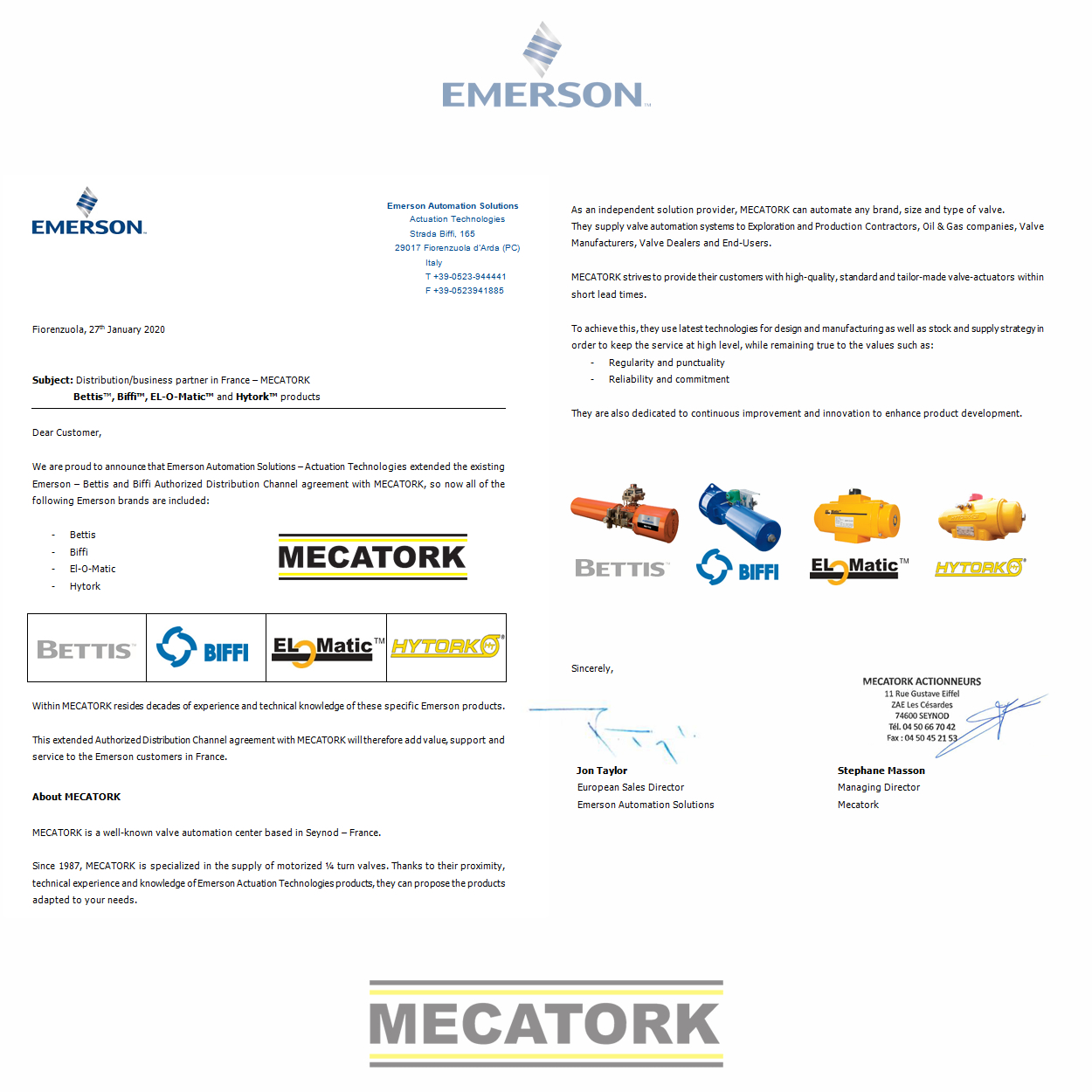 Distribution/business partner Emerson / Mecatork